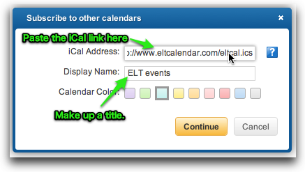 paste iCal address